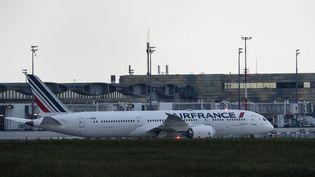 Un avion Boeing 787 de la compagnie Air France-KLM sur le tarmac de l'aéroport de Roissy-Charles-de-Gaulle, le 3 juin 2021. (GEOFFROY VAN DER HASSELT / AFP)