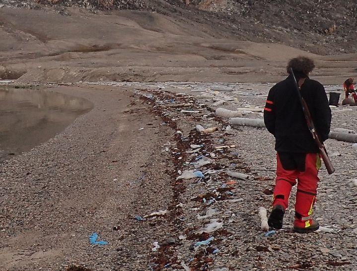 Gilles Elkaim longe le rivage d'une réserve naturelle de l'archipel du Svalbard (Norvège), en octobre 2016. (GILLES ELKAIM / FRANCEINFO)