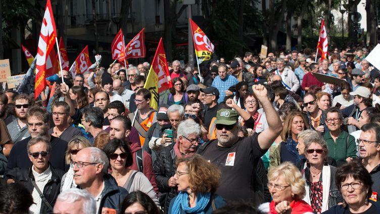 Des manifestants lors de la journée d'action contre la réforme du Code du travail, le 12 septembre 2017 à Paris. (CITIZENSIDE/YANN BOHAC / AFP)
