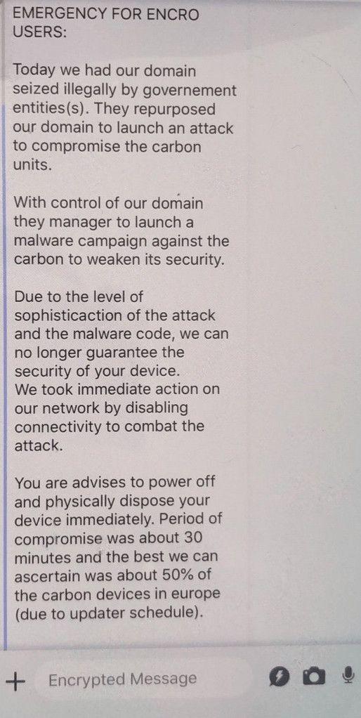 Capture d'écran du message envoyé par EncroChat à leurs utilisateurs, avant d'arrêter leurs services, le 13 juin 2020. (Europol/Eurojust/Gendarmerie française)