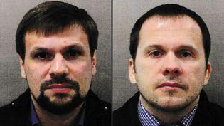 Ruslan Boshirov (à gauche) et Alexander Petrov (à droite) sur des photos publiées par la police britannique le 5 septembre 2018. (METROPOLITAN POLICE SERVICE / AFP)