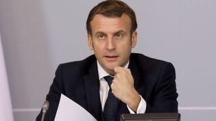 Emmanuel Macron à l'Elysée, le 17 novembre 2020. (GUILLAUME GEORGES / MAXPPP)