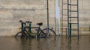 Un vélo, les roues dans l'eau, à cause de la crue de la Seine, à Paris, le 26 janvier 2018. (ST?PHANE ROUPPERT / CROWDPARK / AFP)