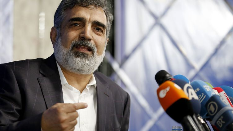 Behrouz Kamalvandi, le porte-parole del'Organisation iranienne de l'énergie atomique, le 17 juillet 2018. (ATTA KENARE / AFP)