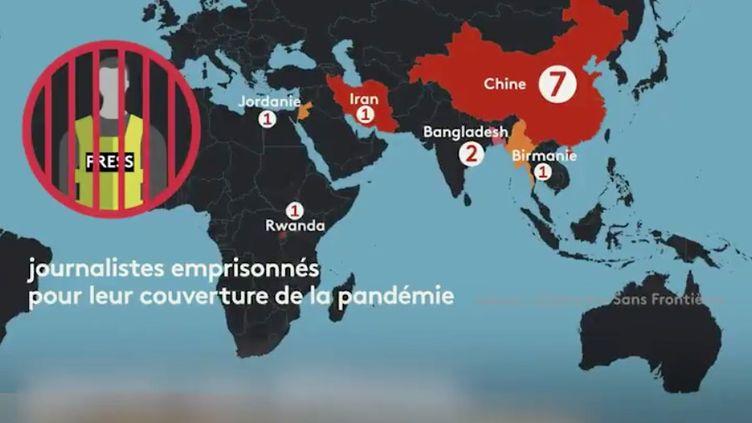 Carte des journalistes emprisonnés pour leur couverture de la pandémie, en décembre 2020. (FRANCEINFO)