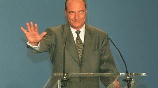 Jacques Chirac à l'hôtel de ville de Paris lors de son premier discours après avoir été élu président de la République, le 7 mai 1995. (GEORGES BENDRIHEM / AFP)