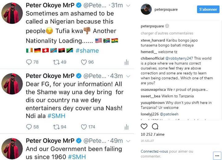 Réaction de Peter Okoye (P-Square) sur Instagram à l'annonce de l'interdiction envisagée des films et clips vidéos nigérians produits en dehors du pays - 16 juillet 2017
