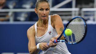 La Tchèque Karolina Pliskova, opposée à la Grecque Maria Sakkari en quarts de finale de l'US Open 2021. (ANGELA  WEISS / AFP)