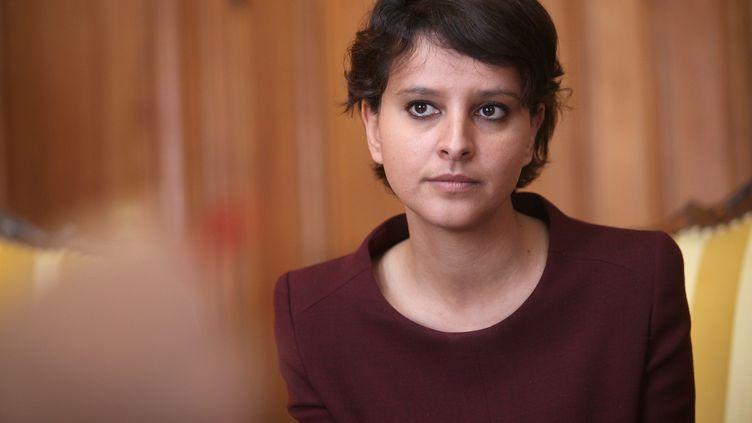 La ministre des Droits des femmes, Najat Vallaud-Belkacem, s'exprime sur l'égalité homme-femme à Lille. ( MAXPPP)