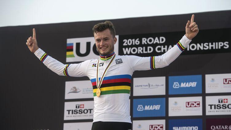 L'Allemand Marco Mathis, champion du monde espoirs du contre-la-montre (KHALED DESOUKI / AFP)