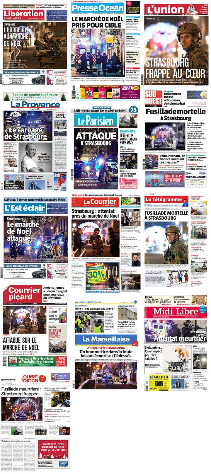 Les unes des principaux journaux régionaux, le 12 décembre 2018, au lendemain de la fusillade à Strasbourg (Bas-Rhin). (FRANCEINFO)