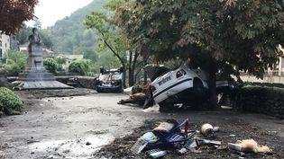 Les intempéries ont durement frappé Valleraugue (Gard) et le secteur, samedi 19 septembre 2020. Des scènes de désolation étaient visibles au lendemain de la crue de l'Hérault. (BERNARD FAVIER / AFP)