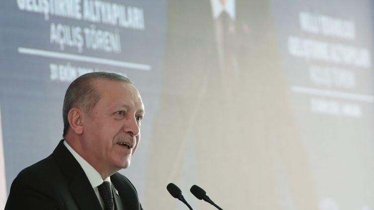Recep Tayyip Erdogan, le 31 octobre 2018, à Ankara (Turquie). (TURKISH PRESIDENCY / MURAT CETIN / AFP)