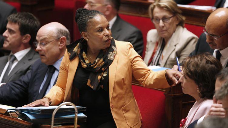 La ministre de la Justice, Christiane Taubira, défend la réforme pénale à l'Assemblée nationale, le 4 juin 2014. (FRANCOIS GUILLOT / AFP)