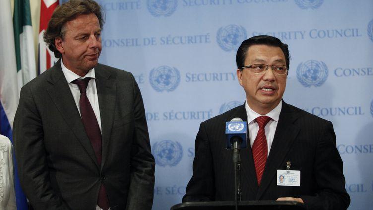 Le ministre malaisien des Transports Liow Tiong Lai (à droite), le 29 juillet 2015 au siège de l'ONU, à New York (Etats-Unis). (KENA BETANCUR / AFP)