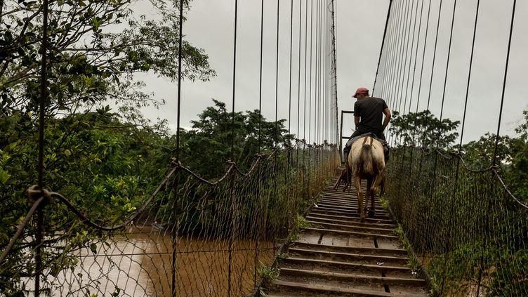 Un pont construit par des villageois au Nicaragua  (Adrienne Surprenant / Hans Lucas)
