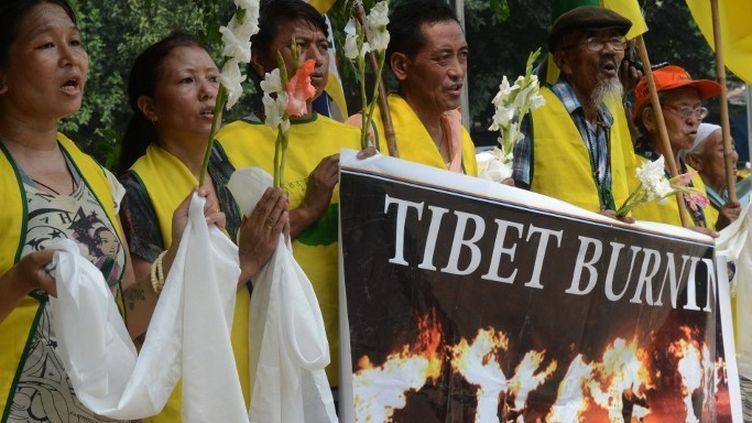 Manifestation en faveur du Tibet en Inde. (RAVEENDRAN / AFP)