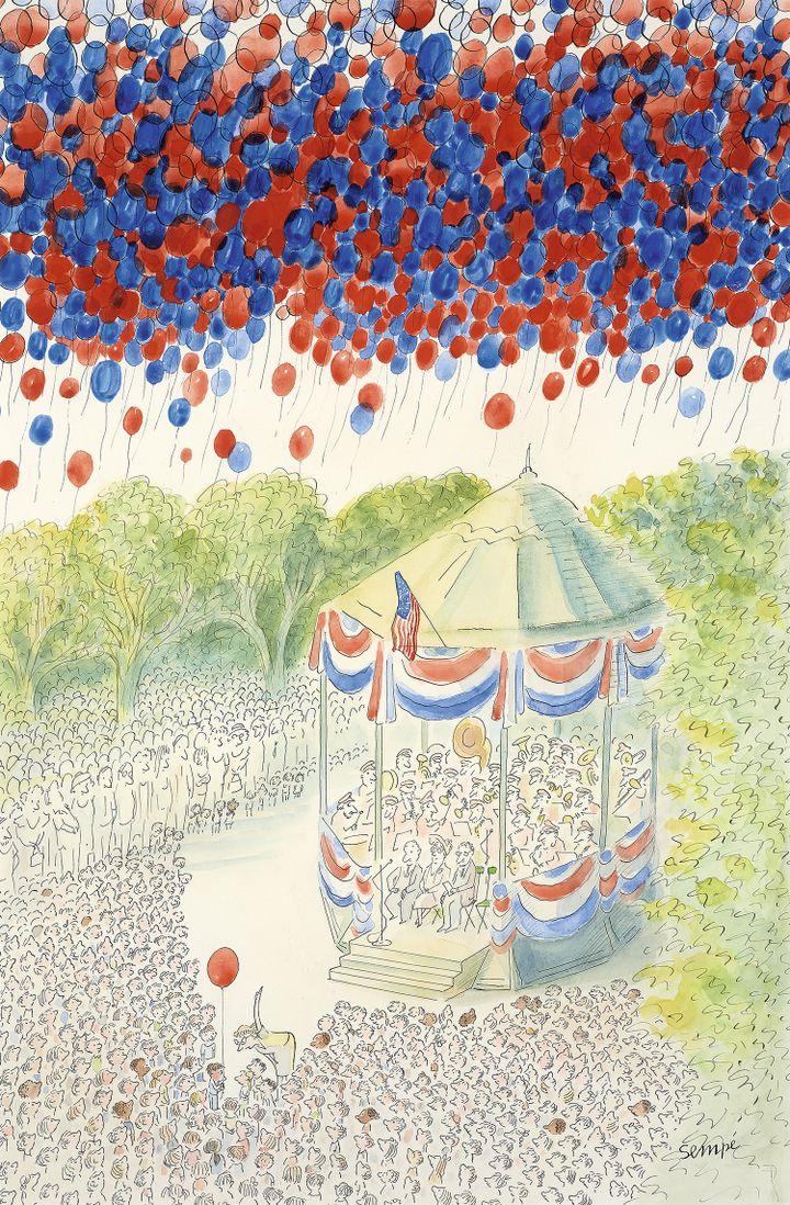 """""""4th July"""", Jean-Jacques Sempé, illustration pour la couverture du New Yorker, 6 juillet 1987 (ARTCURIAL)"""