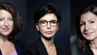 De gauche à droite, les trois candidates à la mairie de Paris : Agnès Buzyn, Rachida Dati et Anne Hidalgo. (JOEL SAGET / AFP)