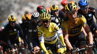 Julian Alaphilippe, alors leader du classement général, sur la route du Tour de France, le 31 août 2020. (MARCO BERTORELLO / AFP)