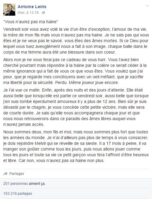 (Le message d'Antoine Leiris publié sur sa page Facebook le 16 novembre 2015 © Capture d'écran Facebook)