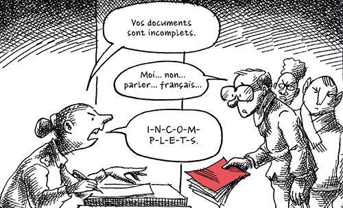 «Quand il rencontre l'administration française, un demandeur d'asile est confronté à un premier gros problème: tout le monde s'attend à ce qu'il parle français.» (Mana Neyestani - Arte Editions)