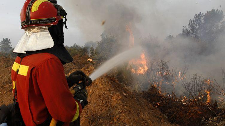 Un pompier lutte contre le feu, le 21 août 2012, à Destriana, dans la province de Leon (Espagne). (CESAR MANSO / AFP)