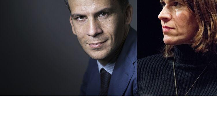 Gaspard Gantzer à Paris le 24 avril 2017 et Aurélie Filippetti, à Paris le 9 janvier 2017. (AFP / JOEL SAGET / YANN KORBI / MONTAGE FRANCEINFO)