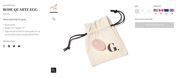 Un œuf en quartz rose proposé à la vente sur le site Goop. (GOOP)