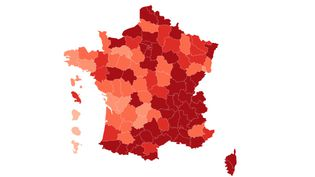 Carte du taux d'incidence par département au 22 octobre 2020 (FRANCEINFO)