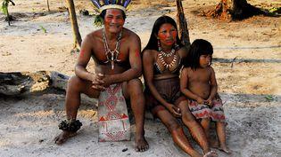 Des Guaranis participent à un festival, le 21 août 2006, en Amazonie(Brésil). (DOELAN YANN / HEMIS.FR / AFP)