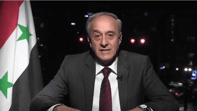 Le vice-ministre des Affaires étrangèes,Ayman Soussan, était l'invité du JT de France 2, dimanche 15 avril 2018. Il s'exprimait en direct de Damas (Syrie). (France 2)