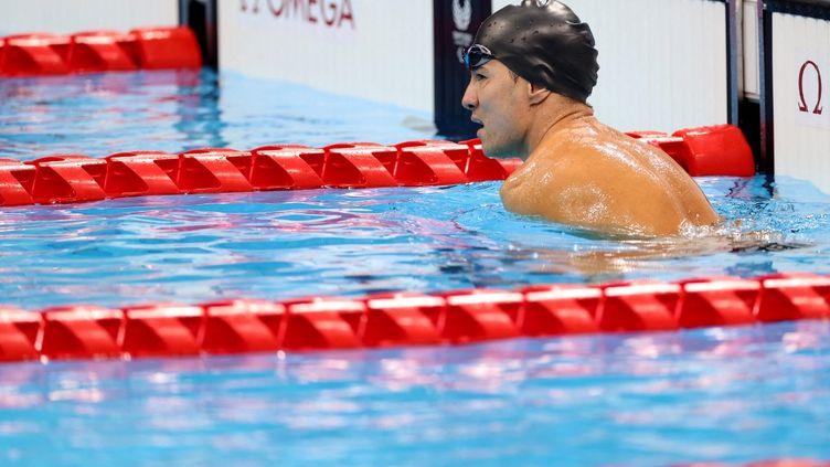 Abbas Karimi, l'un des six représentants du comité des réfugiés aux Jeux paralympiques de Tokyo, disputera la finale du 50 m papillon (catégorie S5), vendredi 27 août. (BEHROUZ MEHRI / AFP)