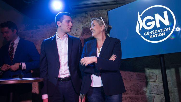 Jordan Bardella et Marine Le Pen (à droite), samedi 23juin2018 lors de la soirée de lancement de Génération nation, à Paris. (MAXPPP)