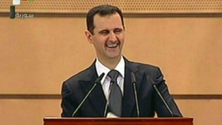 Bachar al-Assad lors d'un discours à Damas le 20 juin 2011 (AFP / Syrian TV)