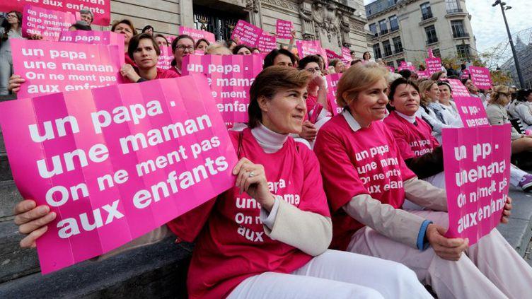 Des manifestants d'Alliance Vita manifestent contre l'ouverture du mariage aux homosexuels, le 23 octobre 2012, à Lille (Nord). (DENIS CHARLET / AFP)