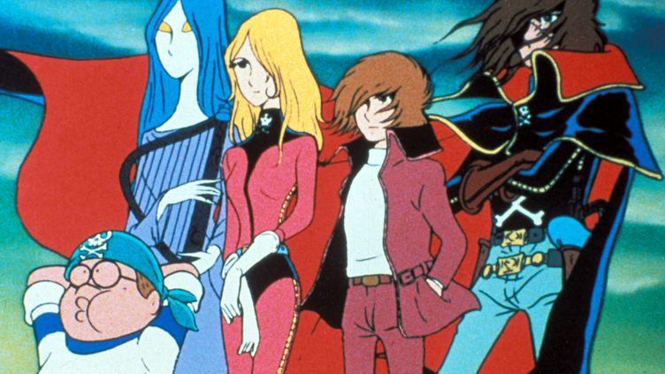 """Les principaux protagonistes du dessin animé """"Albator, le corsaire de l'espace"""", diffusé en France dans """"Récré A2"""", au début des années 1980. (ARCHIVES DU 7EME ART / AFP)"""