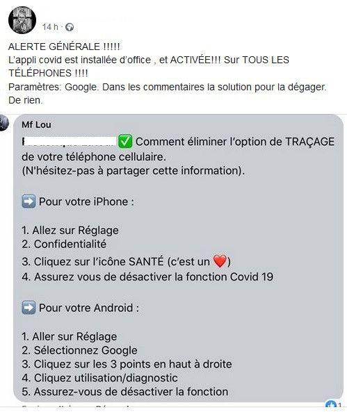 Une capture d'écran d'un post Facebook alarmiste concernant l'application StopCovid. (CAPTURE ECRAN)