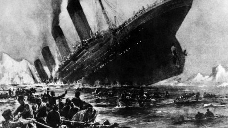 Dessin représentant le naufrage du Titanic, dans la nuit du 14 au 15 avril 1912 dans l'Atlantique nord. Le navire avait coulé après avoir heurté un iceberg au cours de son voyage inaugural. (AFP)