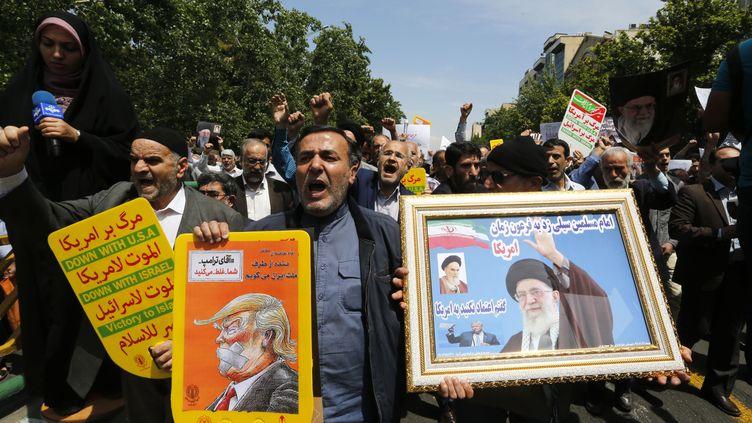 Manifestation anti-américaine à Téhéran (Iran), vendredi 11 mai 2018. (AFP)