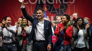 Olivier Faure, le Premier secrétaire du PS, lors du 79e Congrès du parti à Villeurbanne (Rhône), le 19 septembre 2021. (OLIVIER CHASSIGNOLE / AFP)