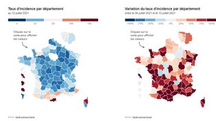 Le taux d'incidence en France au 12 juillet 2021. (FRANCEINFO)