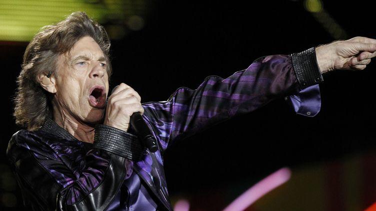 Mick Jagger en concert avec les Rolling Stones à Montevidéo (Uruguay) en février 2016.  (Juan Ignacio Mazzoni/EFE/Newscom/MaxPPP)