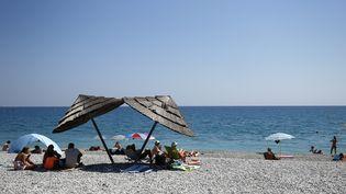 La plage de Villeneuve-Loubet (Alpes-Maritimes), où un arrêté municipal anti-burkini a été annulé par le Conseil d'Etat le 26 août 2016. (MAXPPP)