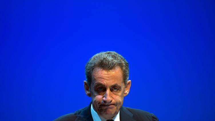 Nicolas Sarkozy lors d'un meeting à Toulon (Var), le 21 octobre 2016. (BERTRAND LANGLOIS / AFP)