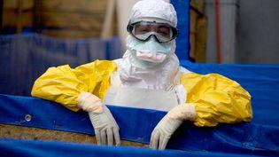 Un médecin de Médecins sans frontières porte une tenue de protection contre Ebola en Guinée, le 16 octobre 2014. (KRISTIN PALITZA / DPA / AFP)