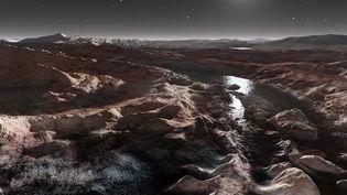 La surface de la planète naine Pluton est dessinée par un artiste, le 25 avril 2017. (RON MILLER / AFP)