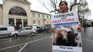 Une femme membre de l'association L214 tient une pancarte prônant la fermeture des abattoirs, le 23 mars 2017 devant le tribunal d'Alès (Gard). (SYLVAIN THOMAS / AFP)