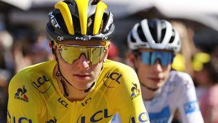 Le Slovène Tadej Pogacar, dimanche 18 juillet, lors de la dernière étape du Tour de France 2021. (THOMAS SAMSON / AFP)
