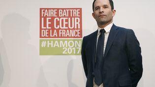 Le candidat socialiste à l'élection présidentielle, Benoît Hamon, lors d'une conférence de presse officialisant son accord avec l'écologiste Yannick Jadot, le 26 février 2017 à Paris. (GEOFFROY VAN DER HASSELT / AFP)
